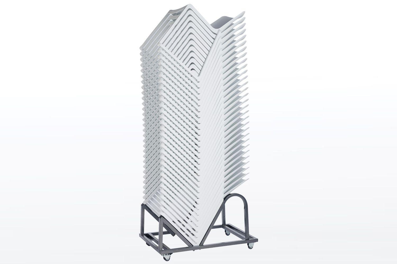 Auf unserem sehr praktischen Stuhl Transportwagen können bis zu 30 Melbourne Kunststoffschalenstühle gestapelt und transportiert werden