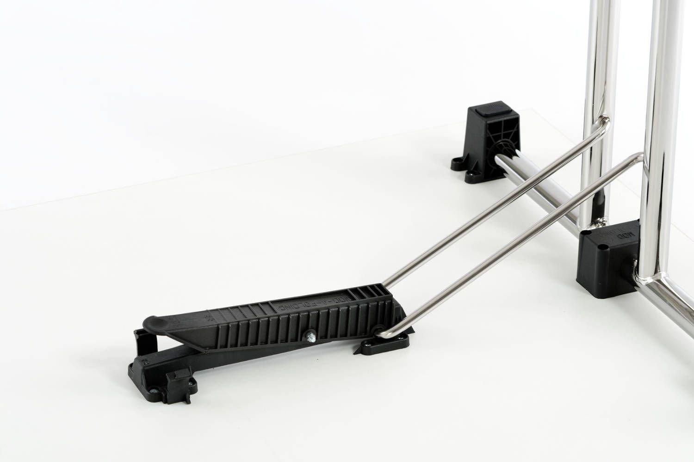 Die Verriegelung ist fest mit der Tischplatte und dem Gestell verbunden